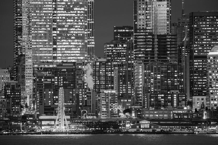 Horizontal Photograph - Illuminated City At Night, Seattle by Panoramic Images