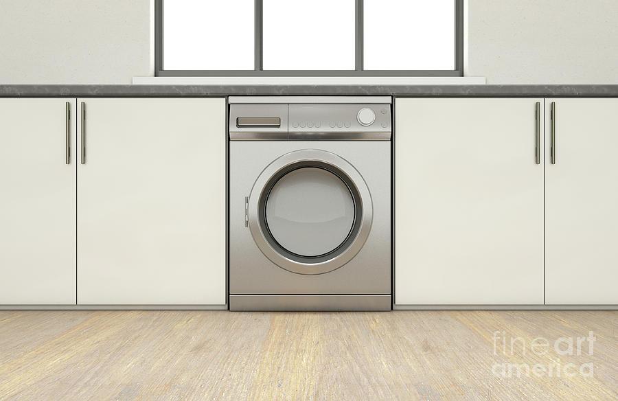 Washing Machine Digital Art - Kitchen And Cupboards by Allan Swart