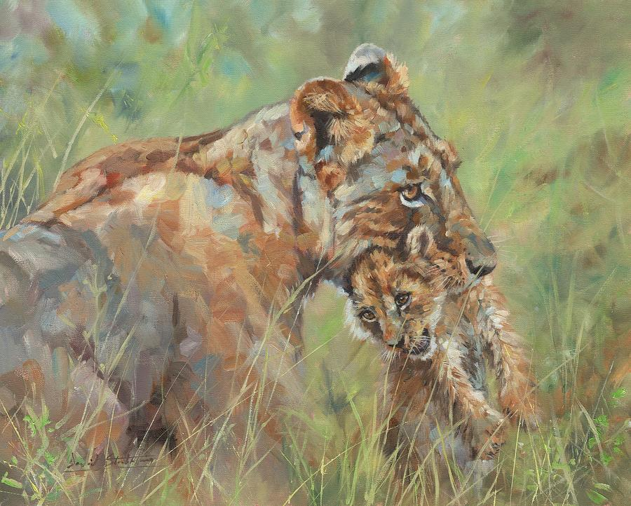 Lioness and Cub by David Stribbling