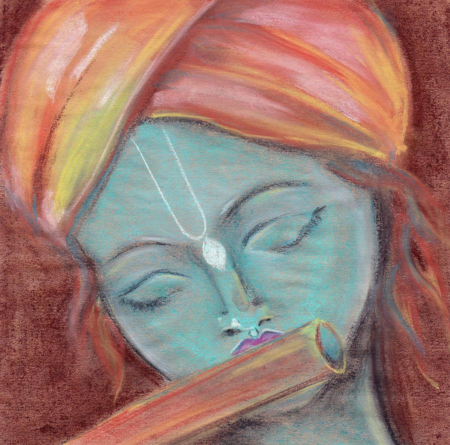 2 lord krishna pastel painting from russia elena sysoeva
