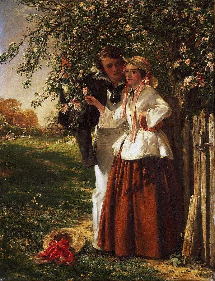 John Callcott Horsley Painting - Lovers Under A Blossom Tree by John Callcott Horsley