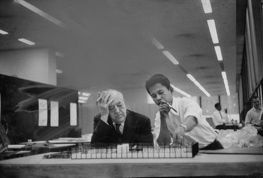 Desk Photograph - Ludwig Mies Van Der Rohe by Frank Scherschel
