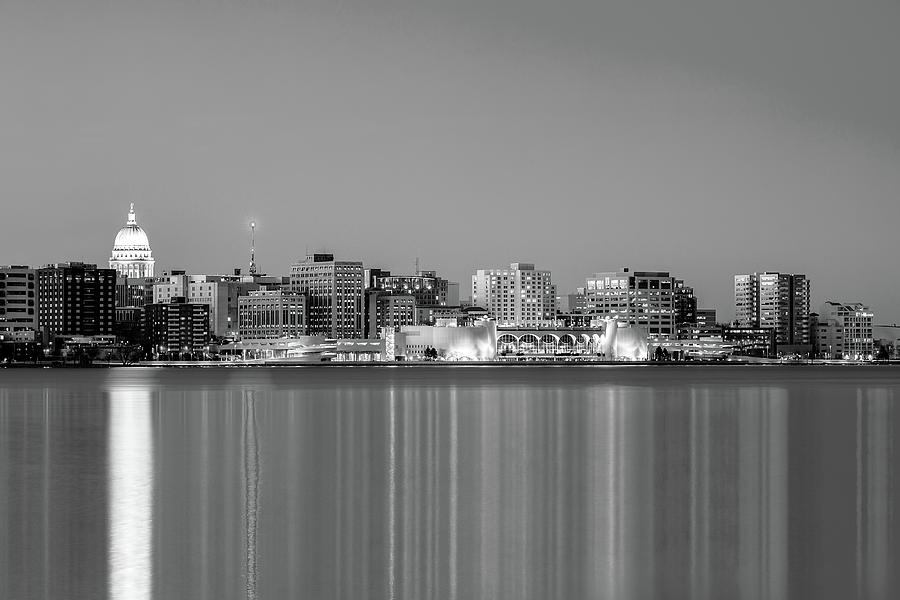 Madison Photograph - Madison Skyline In Black And White by Todd Klassy