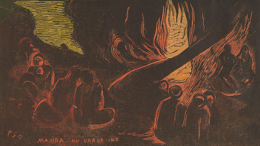 French Painters Relief - Mahna No Varua Ino - The Devil Speaks by Paul Gauguin