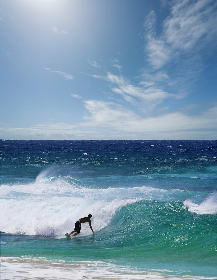 Man Surfing On Beach Photograph by Ed Freeman