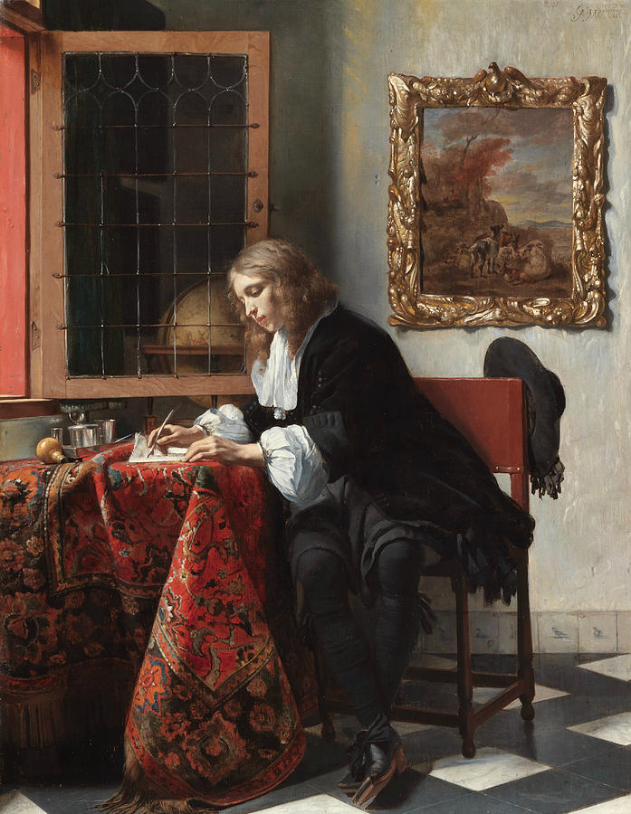 Dutch Painters Painting - Man Writing A Letter by Gabriel Metsu