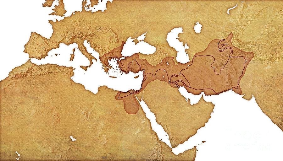African Photograph - Map Of The Empire Of Alexander The Great 2 by Mikkel Juul Jensen/science Photo Library