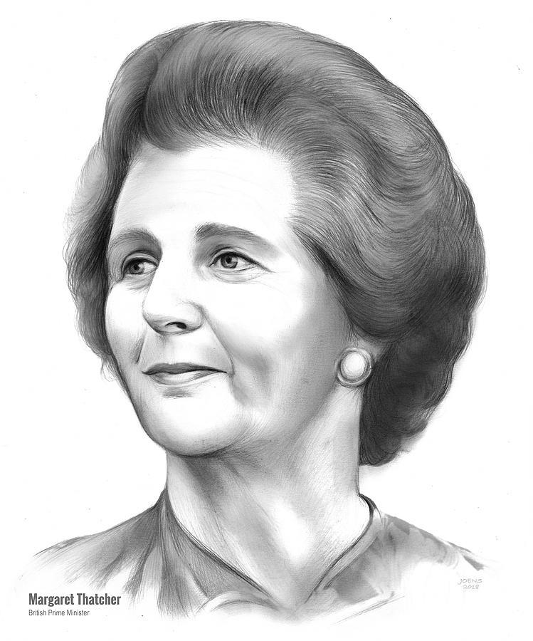 Margaret Thatcher Drawing - Margaret Thatcher by Greg Joens