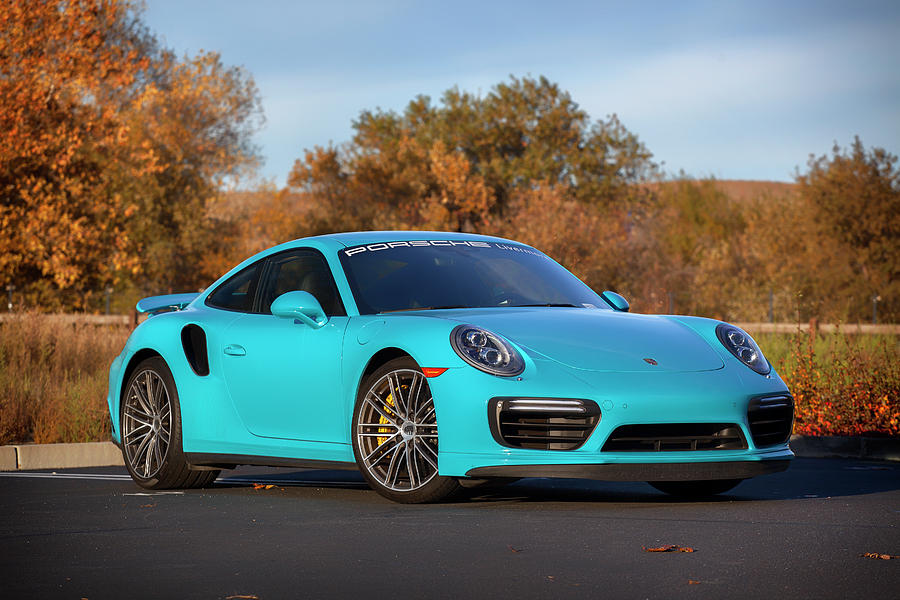Miami Blue Porsche 911 Turbo S Print Photograph By Itzkirb Photography