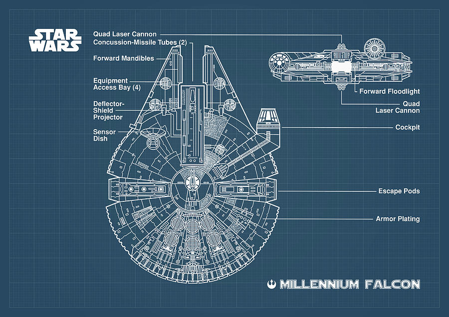 Millennium Falcon Blueprint Digital Art by Denny H on