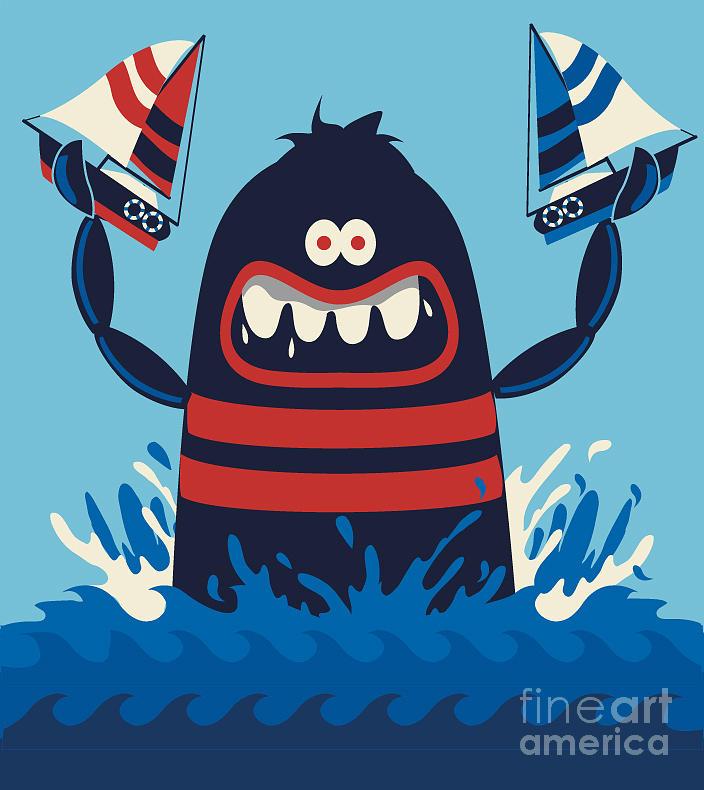 Symbol Digital Art - Monster Vector Design by Braingraph