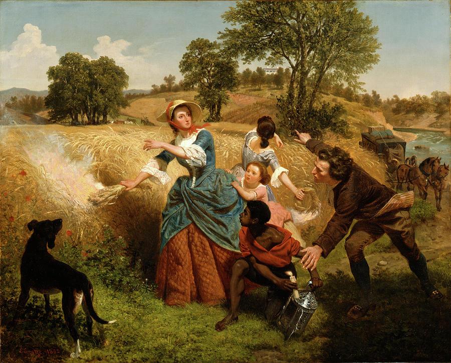 Emanuel Gottlieb Leutze Painting - Mrs  Schuyler Burning Her Wheat Fields On The Approach Of The British  by Emanuel Gottlieb Leutze