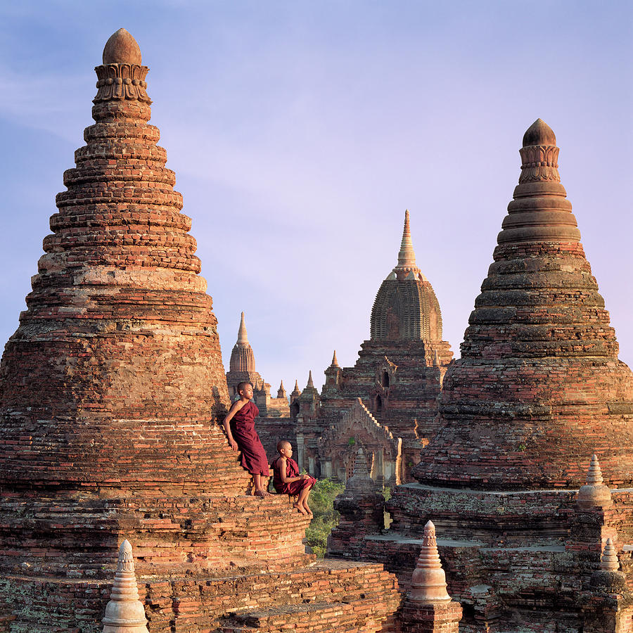 Myanmar, Bagan, Buddhist Monks On Temple Photograph by Martin Puddy