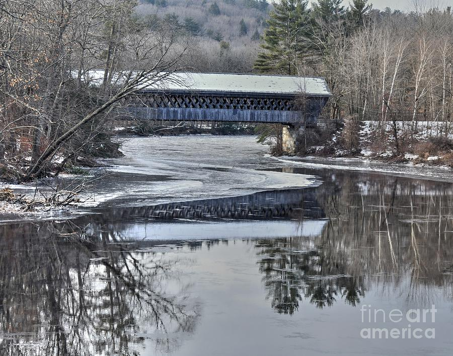 New Hampshire Photograph - New England College Covered Bridge by Steve Brown