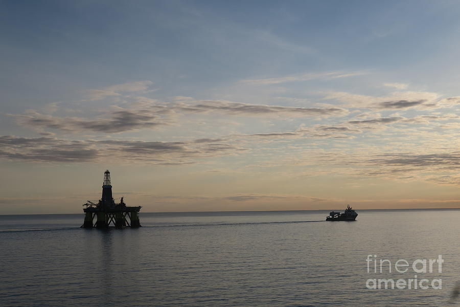 Olympic Zeus Towing Oil Rig by Arild Lilleboe