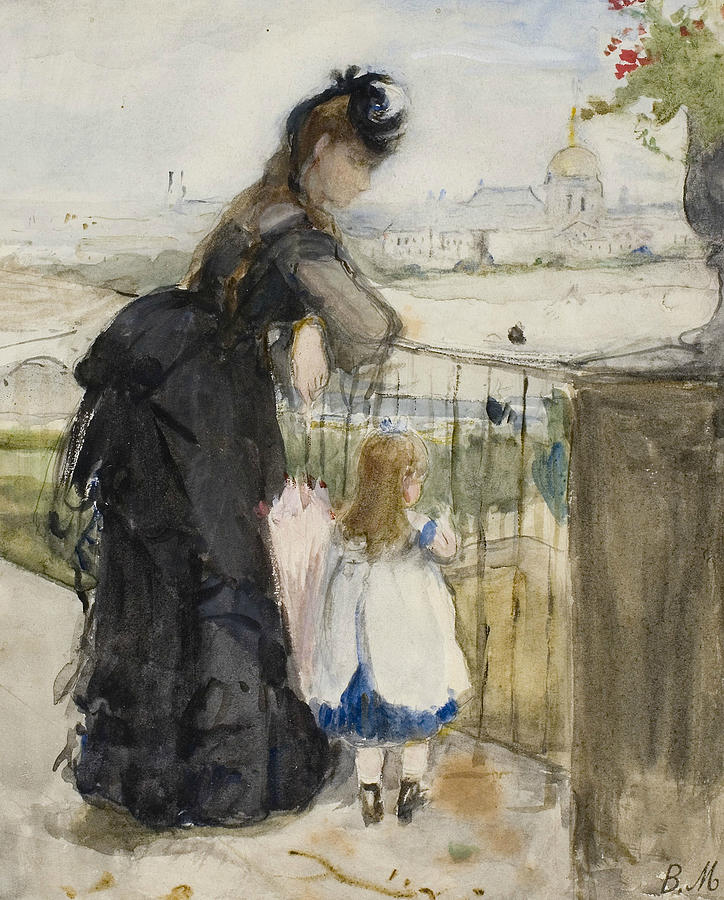 French Painters Drawing - On The Balcony by Berthe Morisot