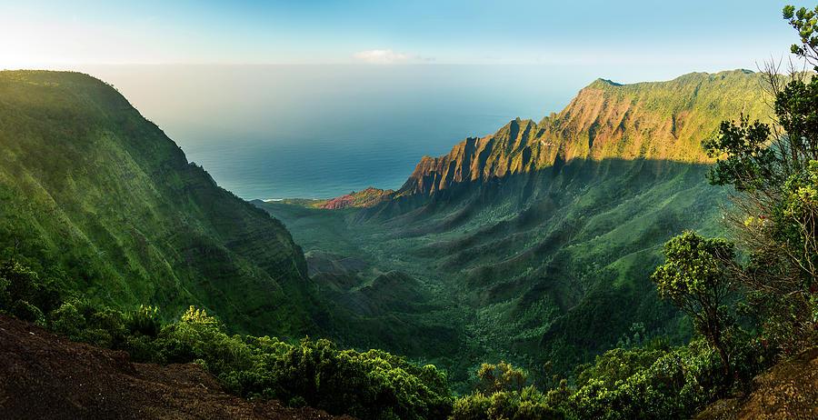 Panoramic view of Kalalau valley Kauai by Steven Heap