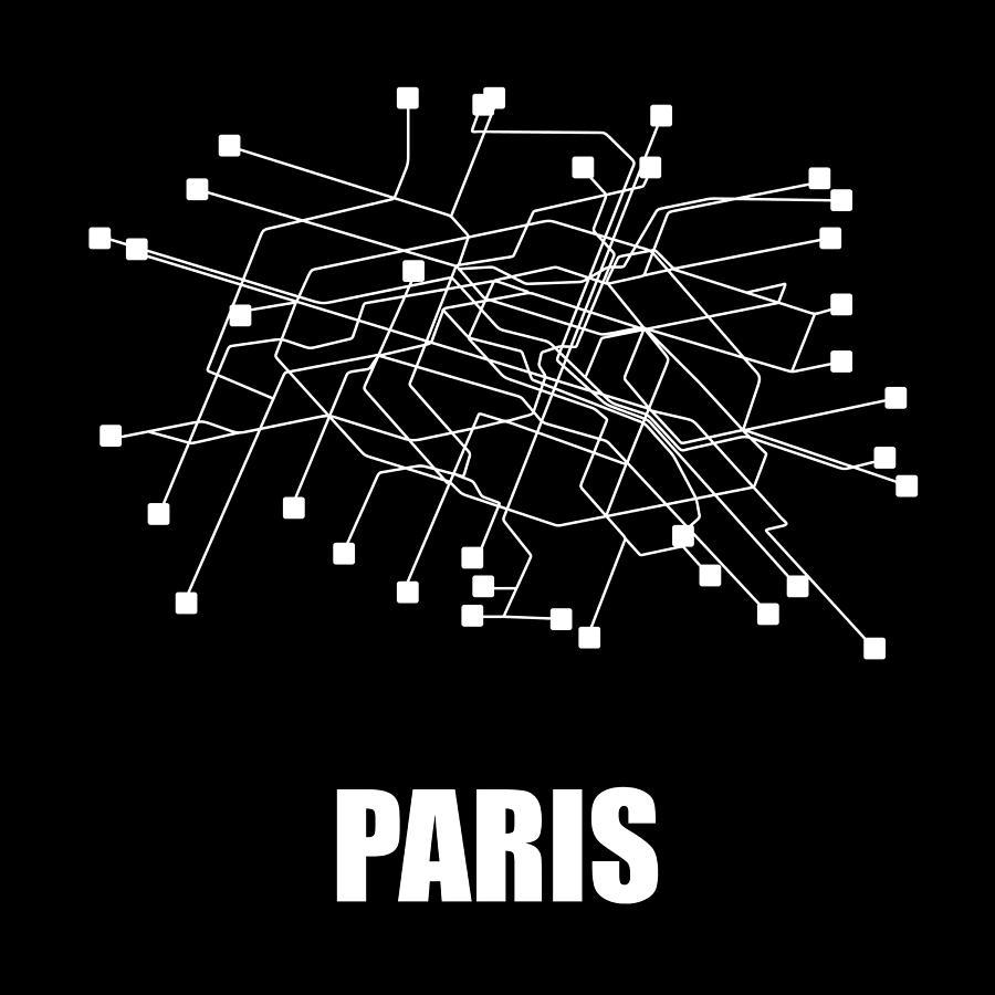 Paris Digital Art - Paris Black Subway Map by Naxart Studio