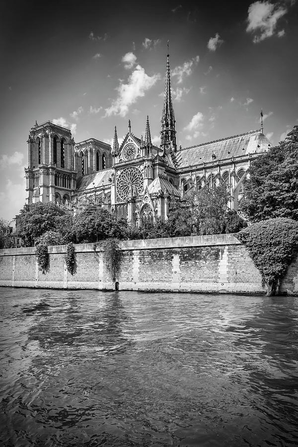 Paris Photograph - Paris Cathedral Notre-dame - Monochrome by Melanie Viola