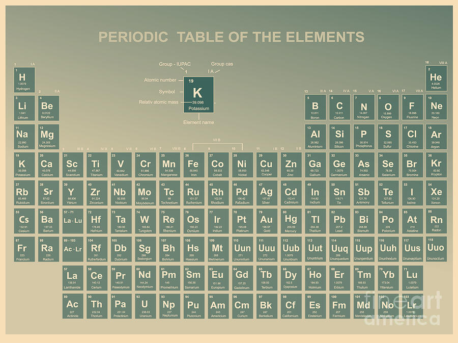 Minerals Digital Art - Periodic Table Of The Elements With by Charobnica