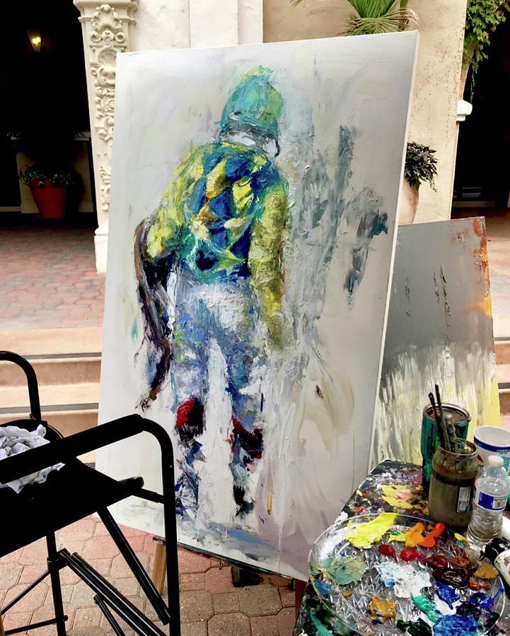 Phantom Jockey  Painting by Heather Roddy