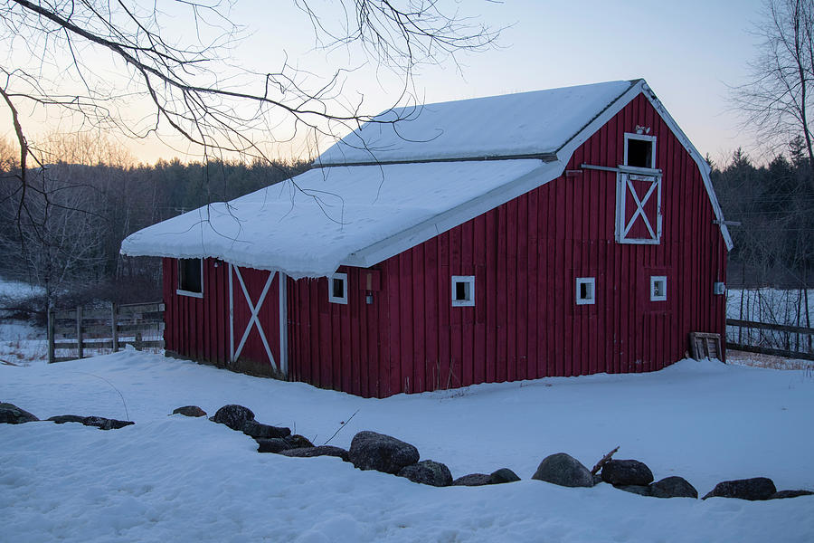 Red Barn in Winter by Joann Vitali
