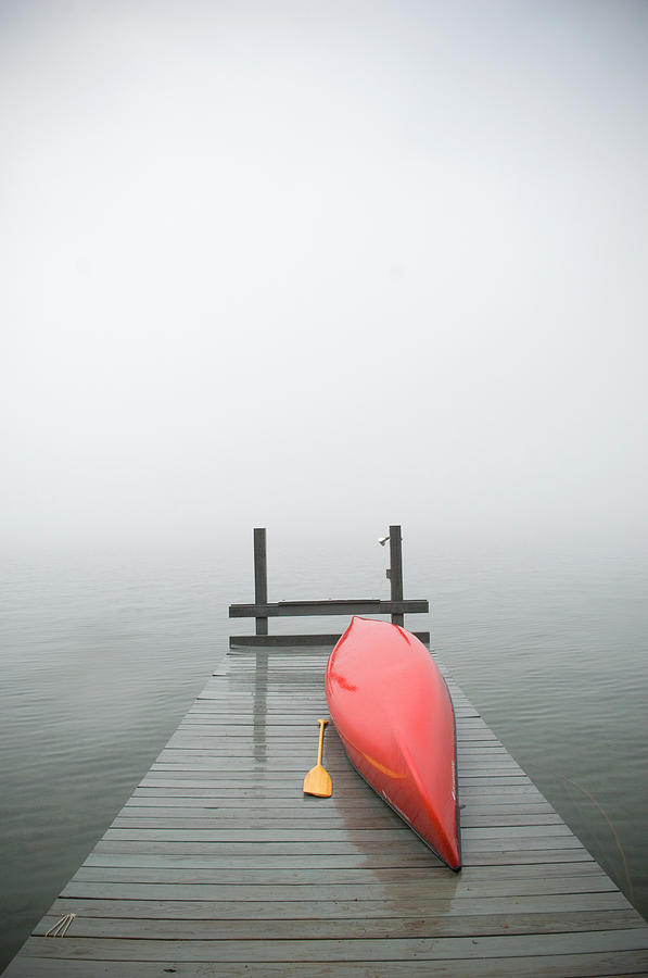 Red Canoe On Dock Photograph by Zia Soleil