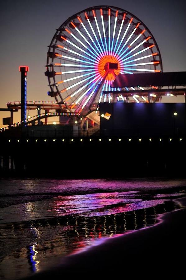 Santa Monica Pier With Waves Photograph by Stephen Albanese
