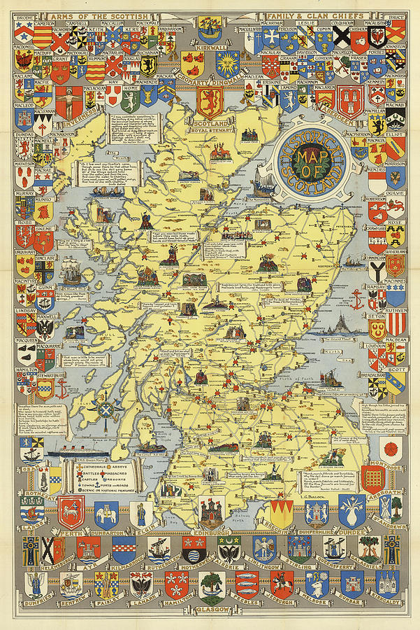 Scotland - Pictorial, Vintage, Old Map by Owl Gallery