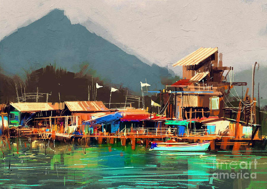 Line Digital Art - Seascape Painting Showing Old Fishing by Tithi Luadthong