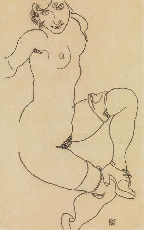 Seated Nude in Shoes and Stockings  by Egon Schiele