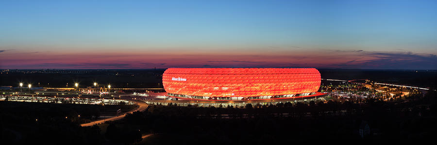 Horizontal Photograph - Soccer Stadium Lit Up At Dusk, Allianz by Panoramic Images