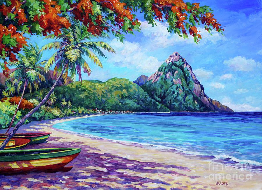Soufriere Painting - Soufriere Bay St Lucia by John Clark
