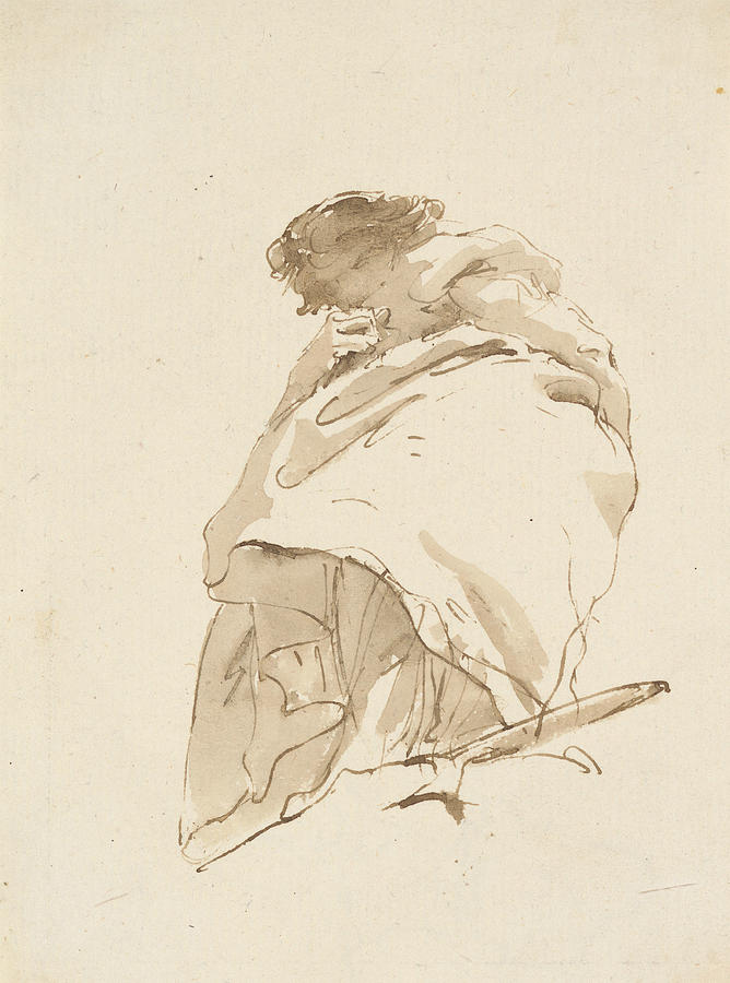 Italian Painters Drawing - Standing Woman, Turned To The Left by Giovanni Battista Tiepolo