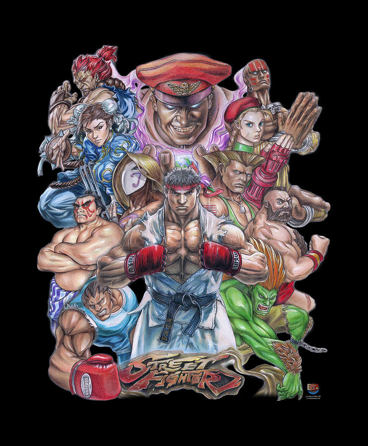 Street Fighter Drawing - Street Fighter Collage by Daniel Ayala