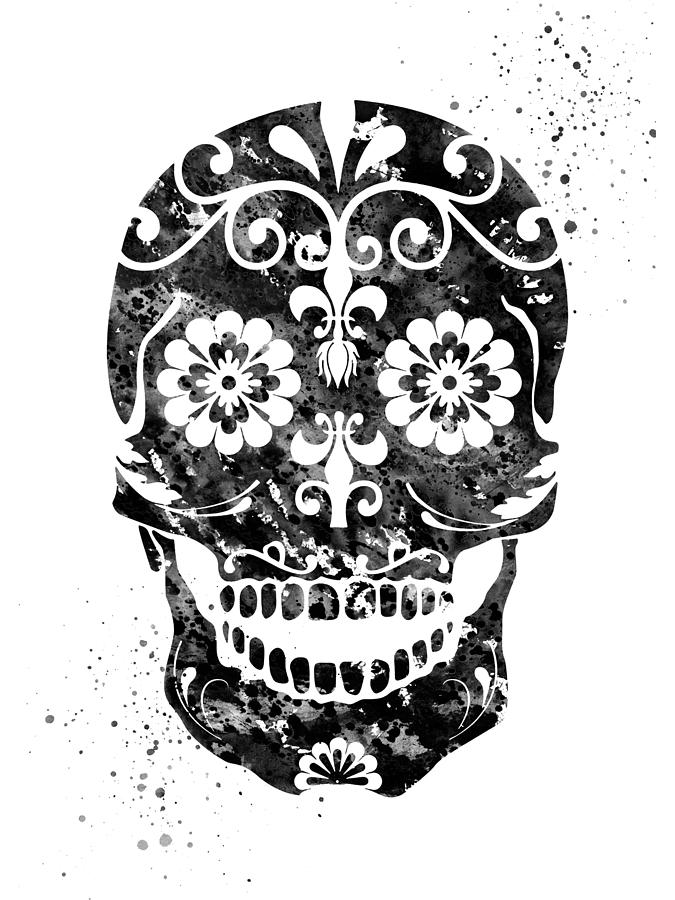 Sugar Skull Black Digital Art By Erzebet S