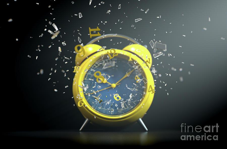 Alarm Digital Art - Table Clock Time Smashing Out by Allan Swart