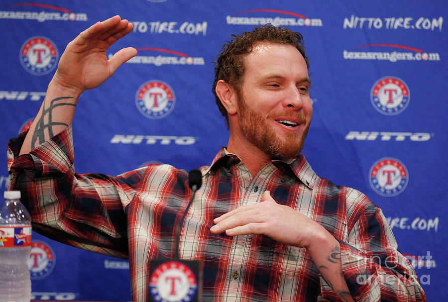 Texas Rangers Introduce Josh Hamilton Photograph by Tom Pennington