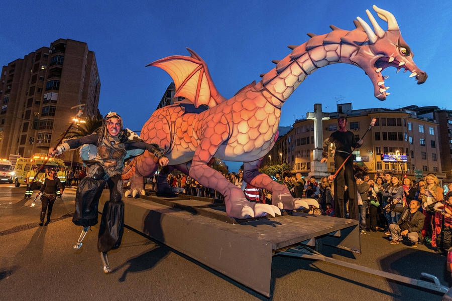The Dragon During The Parade On The Occasion Of The Feast Of Saint George And The Dragon In Caceres, Photograph