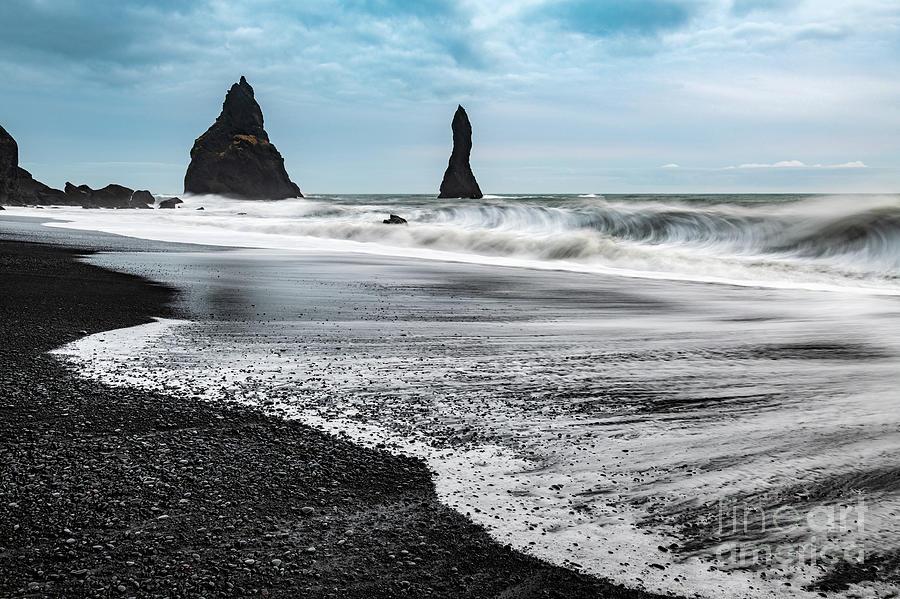 Iceland Photograph - The Dramatic Black Sand Beach Of Reynisfjara. by Jamie Pham