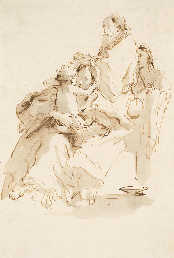 Italian Painters Drawing - The Holy Family With Saint John 2 by Giovanni Battista Tiepolo