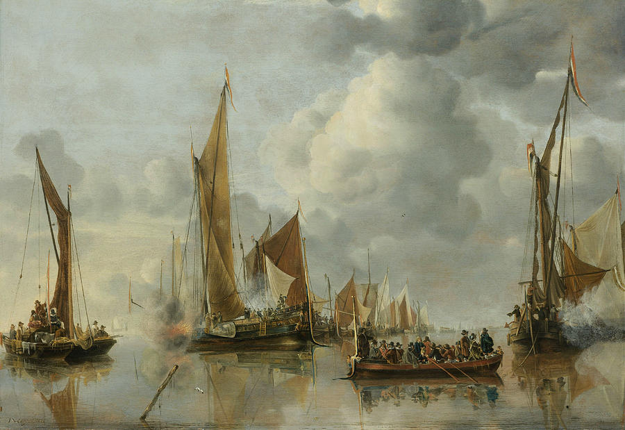 Dutch Painters Painting - The Home Fleet Saluting The State Barge by Jan van de Cappelle