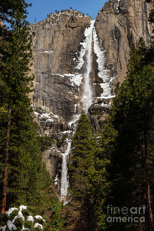 The Iconic Yosemite Falls In The Winter. Photograph