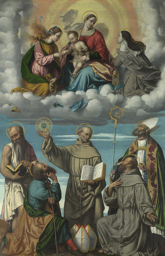 The Virgin and Child with Saint Bernardino and Other Saints by Moretto da Brescia