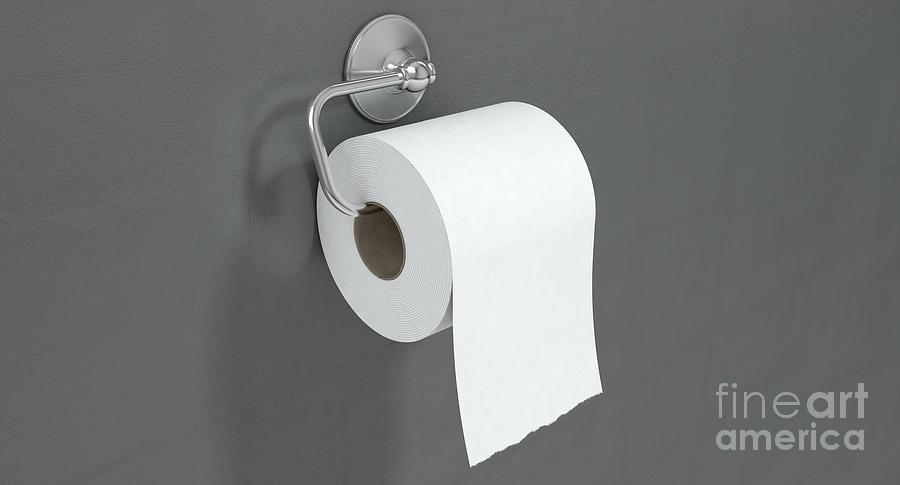 Toilet Digital Art - Toilet Roll On Chrome Hanger by Allan Swart