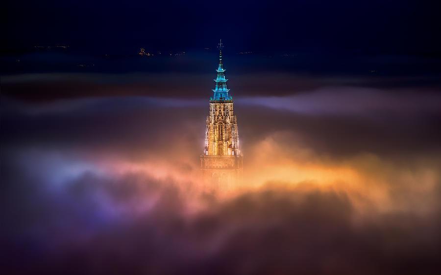 Toledo Photograph - Toledo City Foggy Night by Jesús M. García