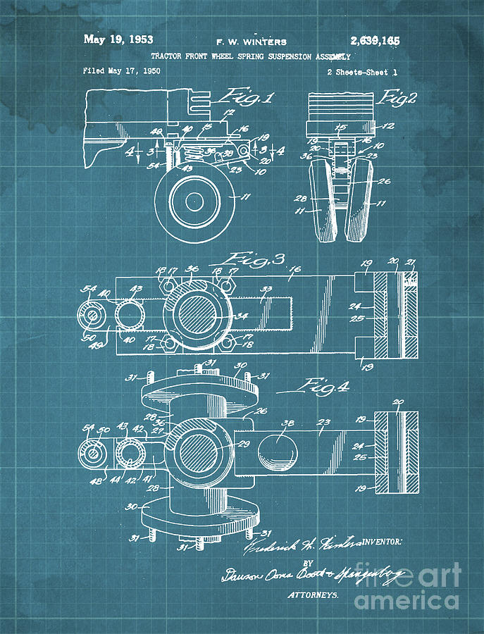 Tractor Drawing - Tractor Front Wheel Spring Suspension Assembly Patent Year 1953 by Drawspots Illustrations