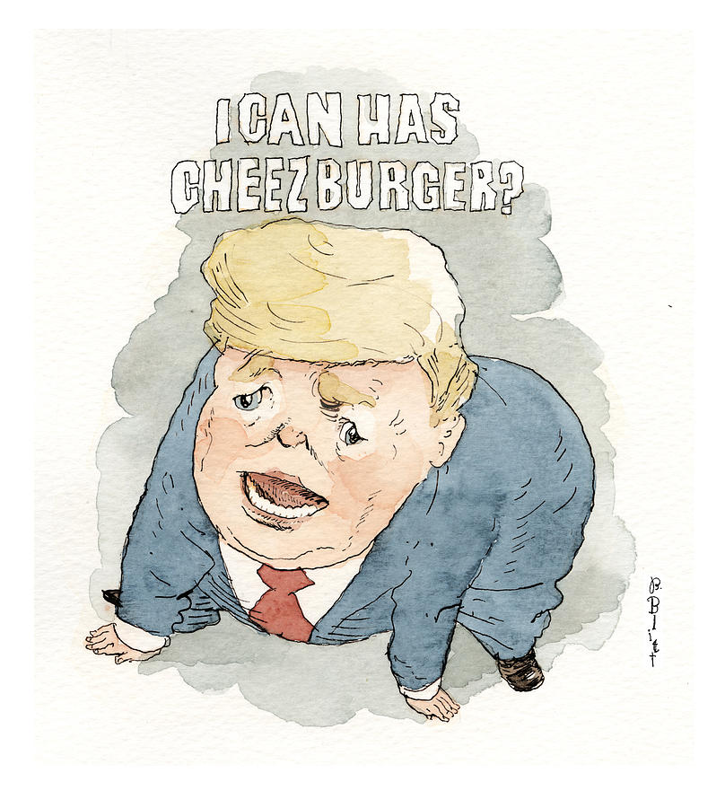 Trump Crying Cat Memes Painting by Barry Blitt