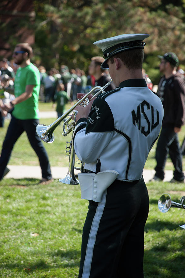 Msu Marching Band Photograph - Trumpet by Joseph Yarbrough