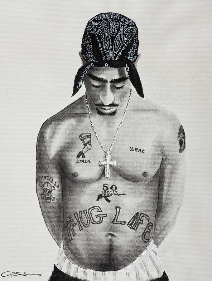 Tupac Shakur Drawing by Guy Roames